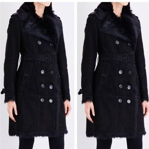 Burberry shearling suede fur trench coat